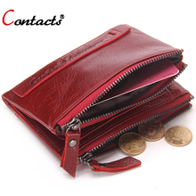 CONTACT'S Genuine Leather Men Wallet Women Luxury Brand Purse Female Card Holder Small Clutch bags coin Purse Money Bag Red