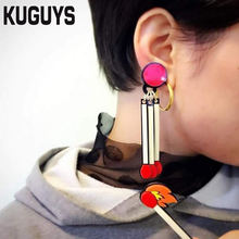KUGUYS Acrylic Jewelry Custom HipHop Rock Large Dangle Earrings for Women Pendientes Fashion Matchstick Drop Earring Brincos(China)