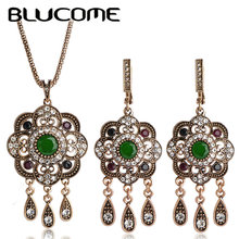Blucome Vintage Turkish Jewelry Sets Green Flower Pendant Colar Gold-color Princess Hooks Long Pendientes Necklace Earrings Set