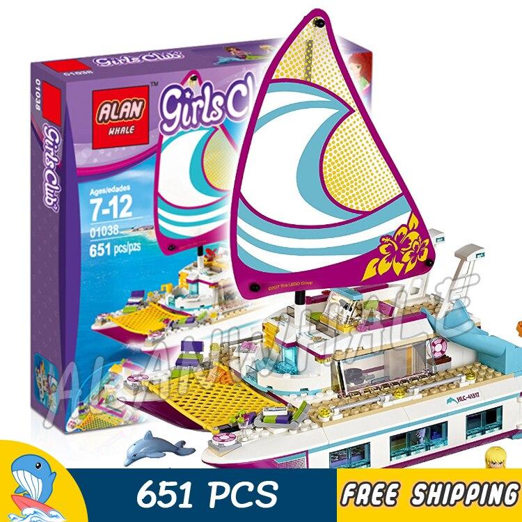 651pcs Friends Sunshine Catamaran Yacht Pleasure Boat 37037 Model Building Blocks Little Girls Toys Bricks Compatible With lego<br>