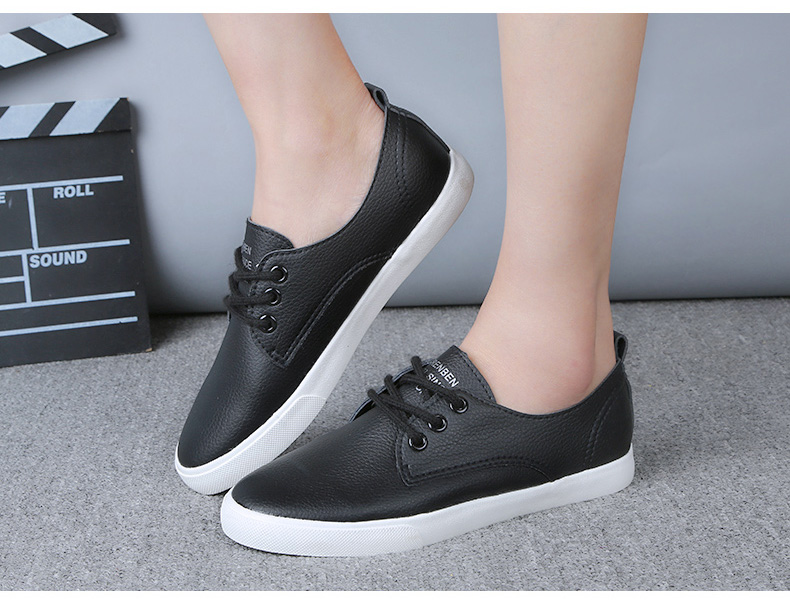 2016 New Leather Women Shoe Casual Leather Shoes For Women Flat Shoes Ladies Lacing Loafers Zapatos Mujer 13