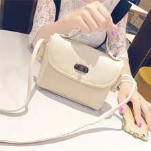 New List Women Handbag Mini Tote Bags Vintage Lock Solid Flap Pouch Synthetic leather Small Messenger Bags bolsa feminina Beige