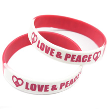 Promo Gift 50PCS/Lot Printed Love and Peace Logo Silicone Wrintband Adult Size Segment color