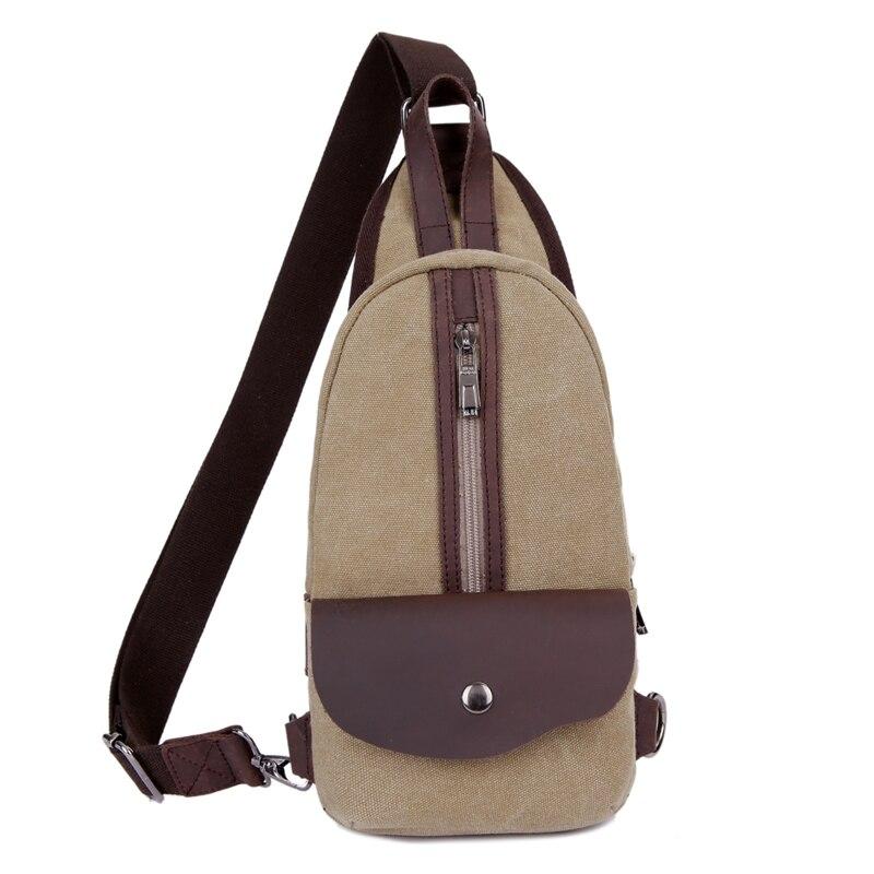2017 Men Casual Trendy Minimalist Canvas Chest Pack Shoulder Crossbody Bag Women School Travel Pouch High Quality Khaki 1502<br><br>Aliexpress
