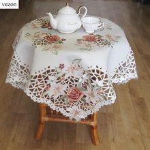 vezonNew Hot Elegant Polyester Satin Embroidery Orange Floral Tablecloths Handmade Embroidered Flower Table Cloth Cover Overlays(China)