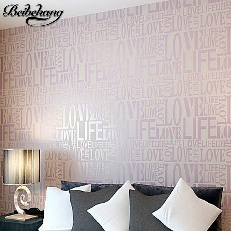 beibehang 6 color European Contemporary Art Deco Flocking Letter Wallpaper 0.53*10m size wall paper Roll For TV Sofa Background<br>