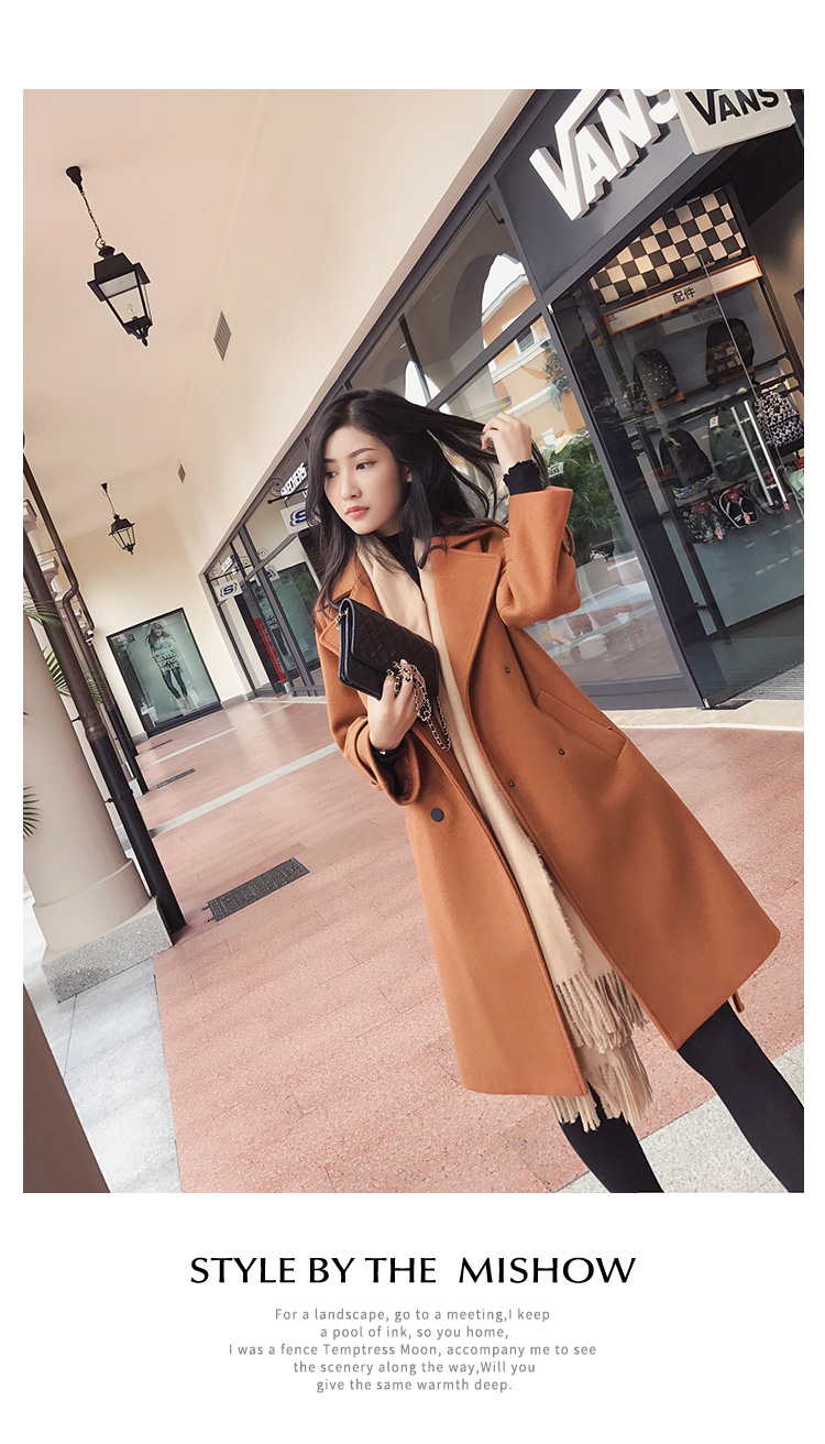 Mishow 19 autumn and winter woolen coat female Mid-Long New Korean temperament women's popular woolen coat MX17D9636 39