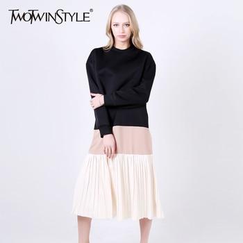 [Twotwinstyle] 2017 primavera patchwork hit colores suéteres de las señoras suelta de manga larga plisada vestidos de las nuevas mujeres ropa de moda