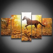 2017 Unframed Canvas 5 Pieces Printed Modern Style Horse Animal Home Painting Wall Decoration Art Works For Bedroom