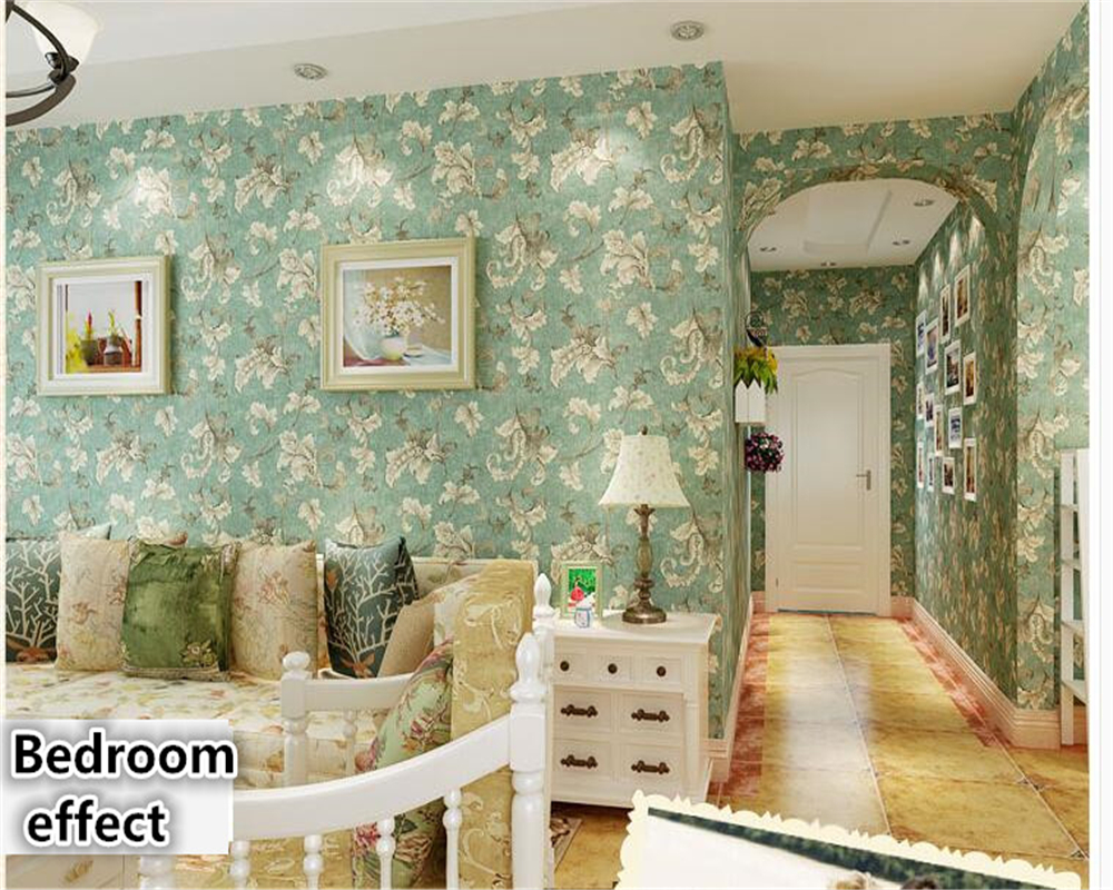 beibehang Non-woven American 3d wallpaper retro European-style bedroom living room TV background wallpaper green scorpion leaves<br>