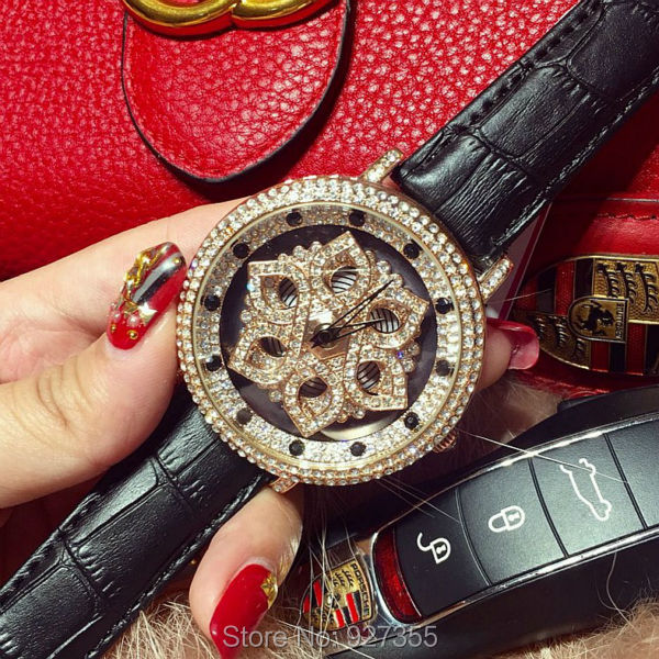 7 Colors! Women Real Leather Watches Lady Shining Rotation Dress Watch Big Diamond Flower Wristwatch Lady Genuine Leather Watch<br><br>Aliexpress