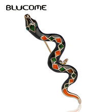Blucome Fashion Poisonous Cold Blood Snake Brooches Pins Women Men Kids Jewelry Animal Corsage Suit Collar Scarf Accessories