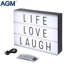 AGM LED Cinema Light Box Night Light Lamp A4 DIY USB Powered Cinematic Lightbox Alphabet Symbole Letters For Wedding Party Decor(China)