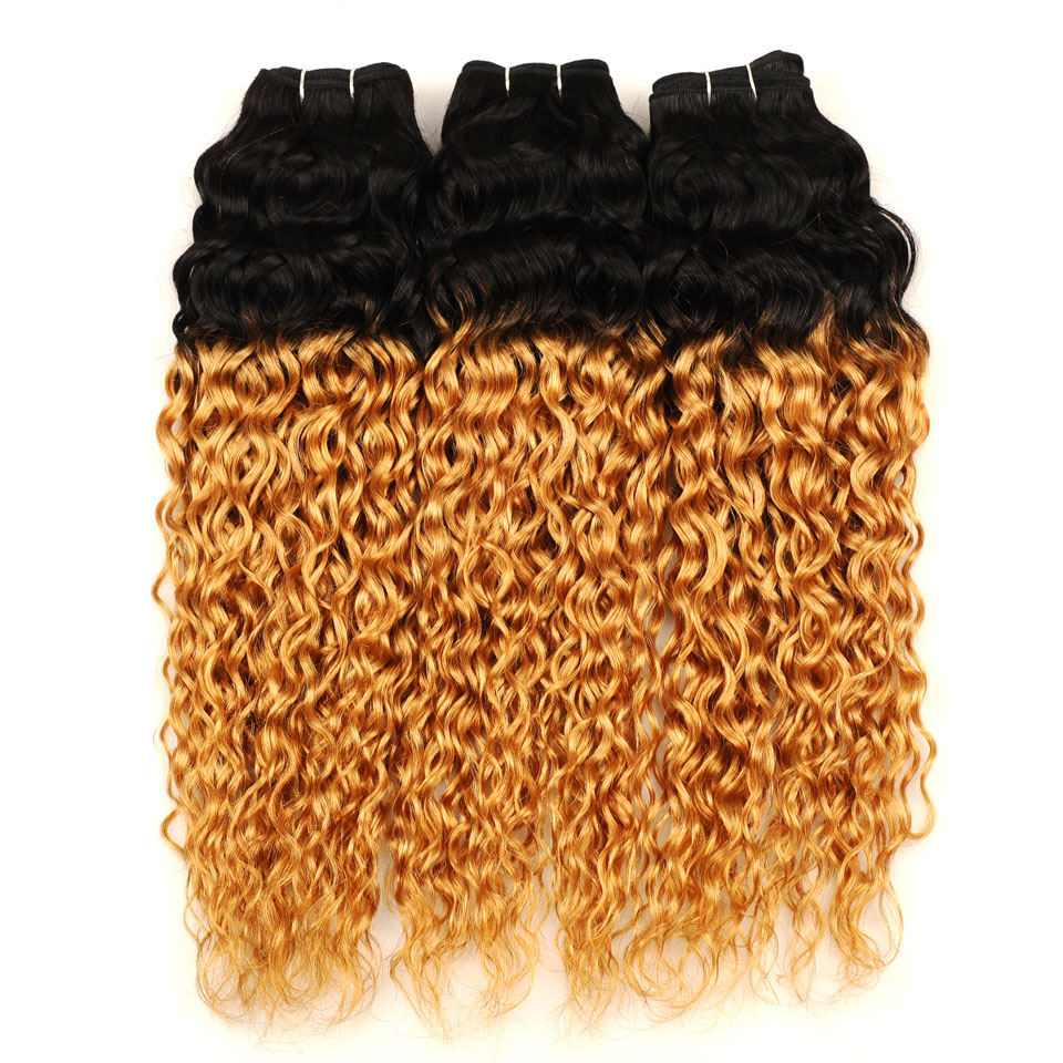 Pinshair Ombre Brazilian Water Wave Hair 1B 27 3 Bundles With Closure Ombre Wet Wavy Human Hair Extension With Closure Non-remy (19)