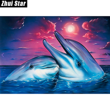 "Full Square Diamond 5D DIY Diamond Painting ""Happy dolphin"" Embroidery Cross Stitch Rhinestone Mosaic Painting Decor"