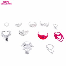 11 Pcs/Set Fashion Jewelry Necklace Plastic Chain Crown Princess Empress Accessories For Barbie Dolls Kids Dollhouse Gift Toy