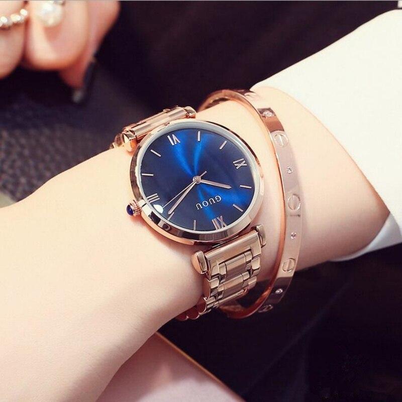 GUOU Top Brand Wrist Watch Luxury Rose Gold Watch Women Watches Fashion Womens Watches Clock bayan saat relogio feminino<br>