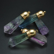 Natural Fluorite Pillar Stone Point Pendant Gold Color Metal Cap Fashion woman Necklace Jewelry5pc/lot