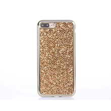 Luxury Gold plated Glitter Bling TPU soft Case For iPhone 7 7 Plus Stickers back Cover For iPhone 6 6S Plus 5 5S SE Mirror edge(China)