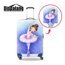 Dispalang ballet dancing girl travel luggage cover s/m/L 3 size for 18 20 22 24 26 28 30 inch case waterproof travel accessories