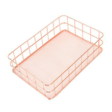 Rose Gold Metal Storage Basket Mesh Crate Vintage Kitchen Office Storage Desk Organiser Kitchen Food Fruit holder Rack Shelf(China)