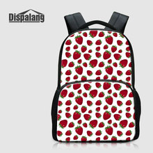 Dispalang Fruit Strawberry Printing School Bags For High Class Students Canvas Back Pack For Women Daily Daypack Girls Bagpacks(China)