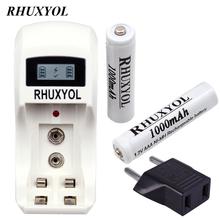 RHUXYOL LCD Display AA AAA 9V NiCd NiMh Battery Charger with 2pcs RHUXYOL 1000mAh 1.2V AAA Rechargeable cell Batteries bateria