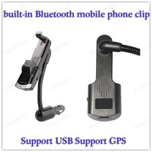 For smart phones Multi-function mobile phone clip Support USB AUX input Infrared remote control Bluetooth V2.1 Support GPS