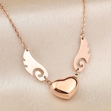 YUN RUO Angel Wings Pendant Necklace Titanium Steel & Rose Gold Color Woman Fine Jewelry Birthday Gift Free Shipping Never Fade(China)