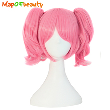 "MapofBeauty short straight hair 2 ponytail pink cosplay wig shape Claw Heat Resistant synthetic wigs 14"" High Temperature Fiber"