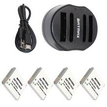 4-Pack NB-6L NB-6LH NB6L Batteries&Dual Charger with USB Cable  for CANON Digital IXUS 85 IS PowerShot S90 Digital IXUS 95 IS