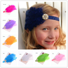 1PCS Feather Headband Curly Goose Feather Pad Headband hair accessries Photo Props vintga Hair bows headband(China)