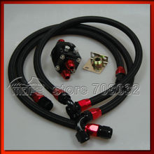 AN10 Oil Cooler Oil Filter Relocation Kit + 3PCS Braided Nylon Stainless Steel Oil Line Hose Black(China)