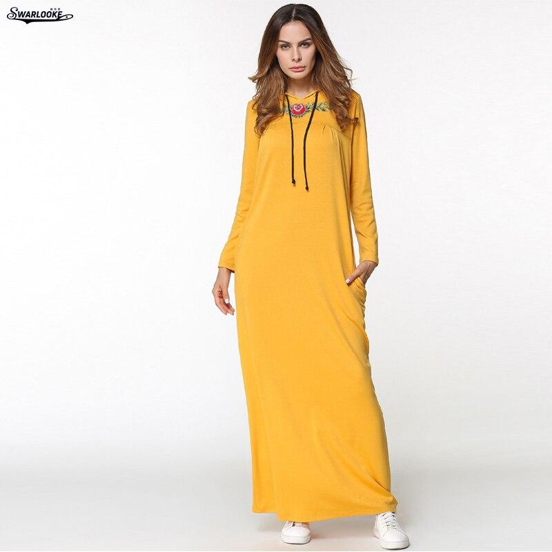 2018 Autumn New Middle East Women Fashion Knitted Long Sleeve Solid Embroidery Plus Size Lady Casual Fall Muslim Dress With CapÎäåæäà è àêñåññóàðû<br><br>