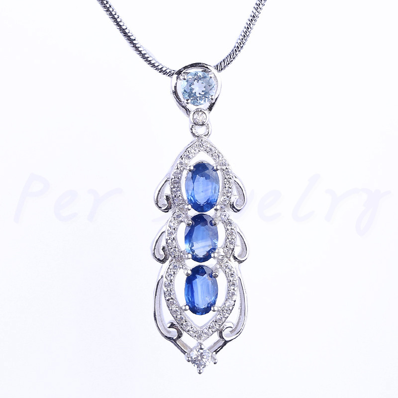 Natural sapphire necklace pendant Free shipping Natural real sapphire 925 sterling silver 0.6ct*3pcs 0.4ct*1pc gems #BR19012801