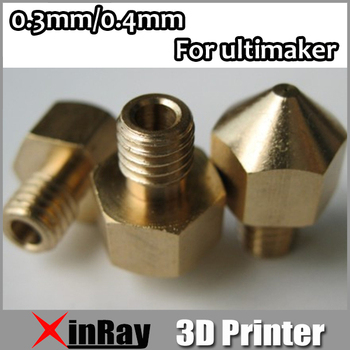 Free shipping 5pcs/lot 3D Printer Nozzle 0.3mm/0.4mm Extruder Print Head for Ultimaker 3 D High Quality 3DH-002