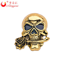 New Skeleton Design Pop Punk Style Brooches for Women Men Skull Broches mujer Pins Crystal Flower Broches para ropa Jewelry Gift(China)