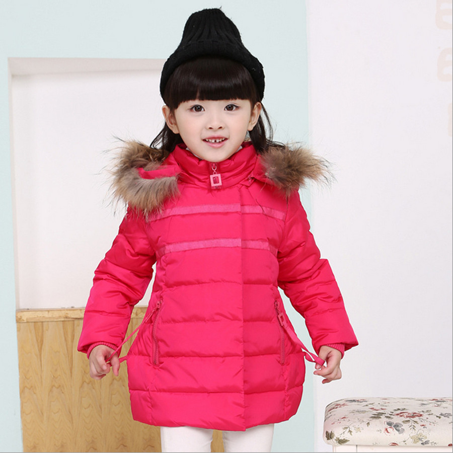 3-8T Children girls Long Down Jacket Winter Coat Fashion Hooded Raccoon Fur Collar Solid Duck Down Jacket Outerwear Parkas 2016Одежда и ак�е��уары<br><br><br>Aliexpress