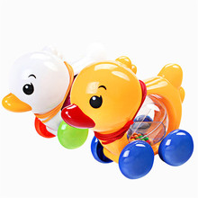 Traditional Pull Along Rattles Duck Plastic Toddler Kids Baby Learn Walk Toy Random Color(China)