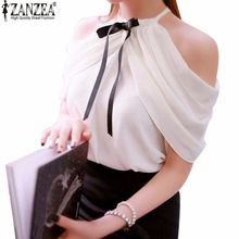 Halter Neck Bowknot Shirts 2017 Zanzea Summer Style Ladies Sexy Off Shoulder Blouse Women Casual Slim Chiffon Tops Blusas(China)