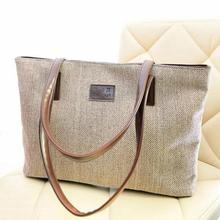 2016 Women Handbag with Big Capacity Single Shoulder Bag Casual Pure Color Zipper Canvas(China)