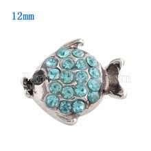 10pcs/lot 12MM Fish snap Silver Plated with Rhinestone  snaps jewelry KS9620-S