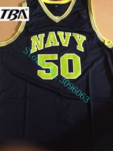 NEW 2017 Sewn Camisa Embroidery Logos Basketball Jersey The Admiral David Robinson Navy Black White Stitched Basketball Jersey(China)