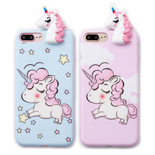 Buy Cute 3D toy unicorn phone Cases iphone X 6 6s 6plus 7 7Plus 8 8plus Cute Cartoon soft silicon case back cover for $5.95 in AliExpress store