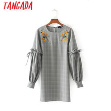 Tangada Women Vintage Embroidery Check Dress Lantern Long Sleeve Bow Tie Ruffle Dress Autumn Spring Casual Brand Vestido LYZ12(China)