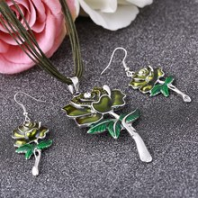Romantic Green Color Nigerian Wedding African Coral Beads Jewelry Set Indian Drip Rose Flower Silver Jewelry Sets