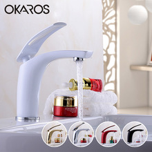 OKAROS Basin Faucet Water Tap Bathroom Faucet Solid Black Red Brass Chrome Gold Finish Single Handle Water Sink Tap Mixer(China)