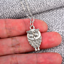 1 PC Owl Pendant Jewelry Antique Silver Small Double-side Owl Pendant Necklace Best Gift