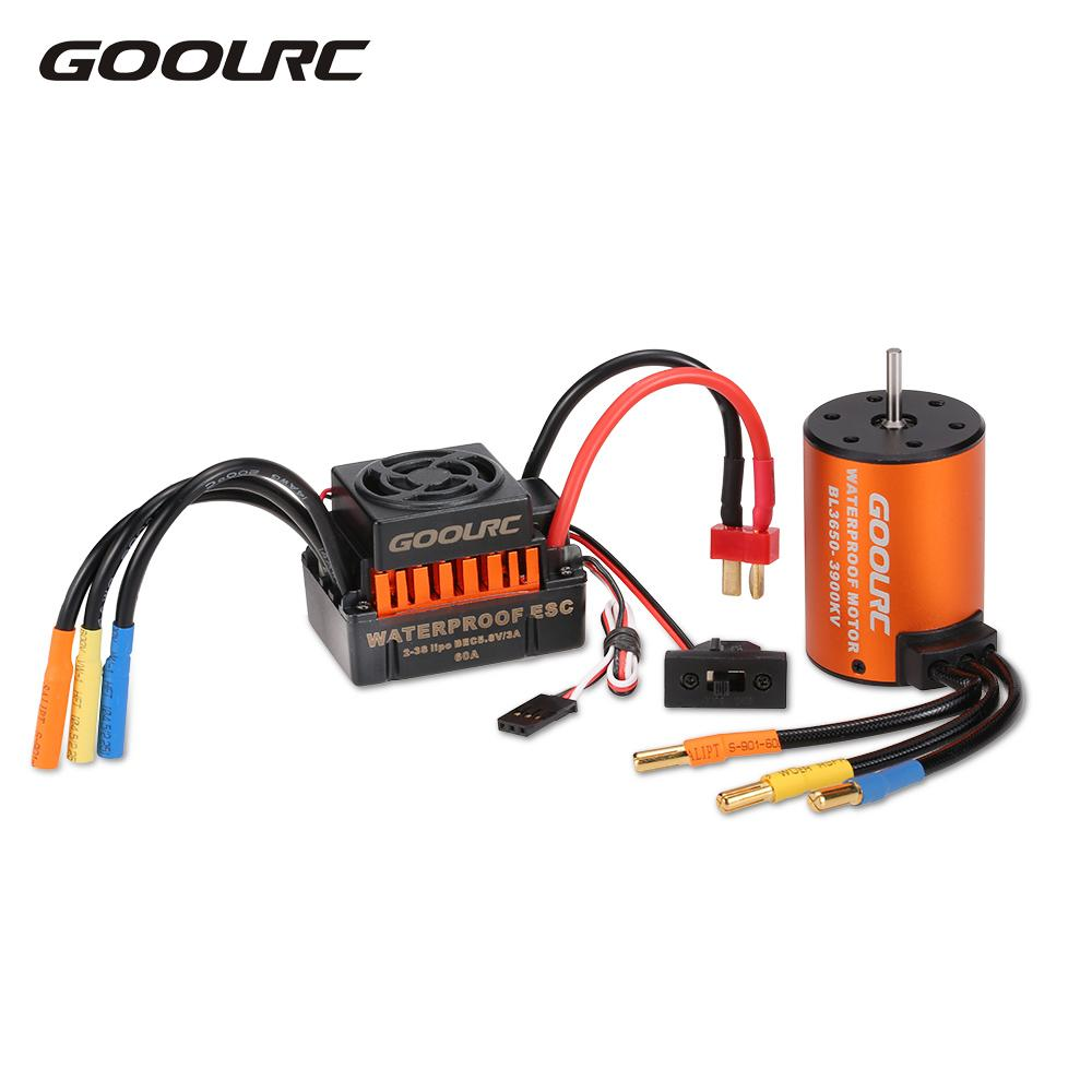 GoolRC Upgrade Waterproof 3650 3900KV Brushless Motor with 60A ESC Combo Set for 1/10 RC Car Truck(China)