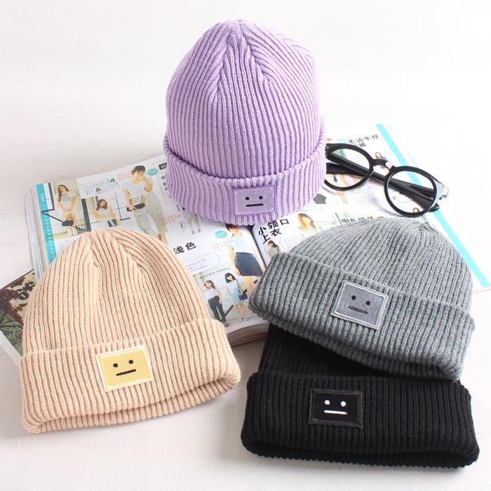 2015 New Women And Men Winter  Autumn Caps Square Smile Faces Knitted Crochet Leisure Warm Hats For Girls Unisex Beanies 4 ColorÎäåæäà è àêñåññóàðû<br><br><br>Aliexpress
